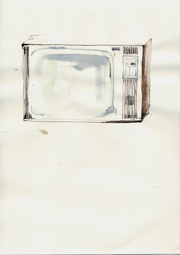 ink drawing of old tv