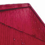 image of red galvanised shed