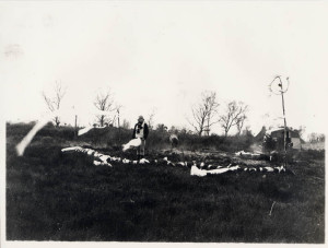black and white image of artist in bog with artwork