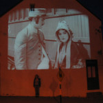 buster keaton film projected with image of Fiona
