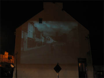 The films were projected from a purpose made booth on the square onto a 70 ft high Gable wall.
